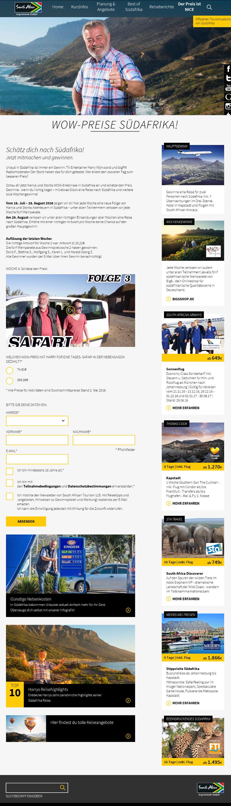 Harry Wijnvoord – WOW-Preise Südafrika!