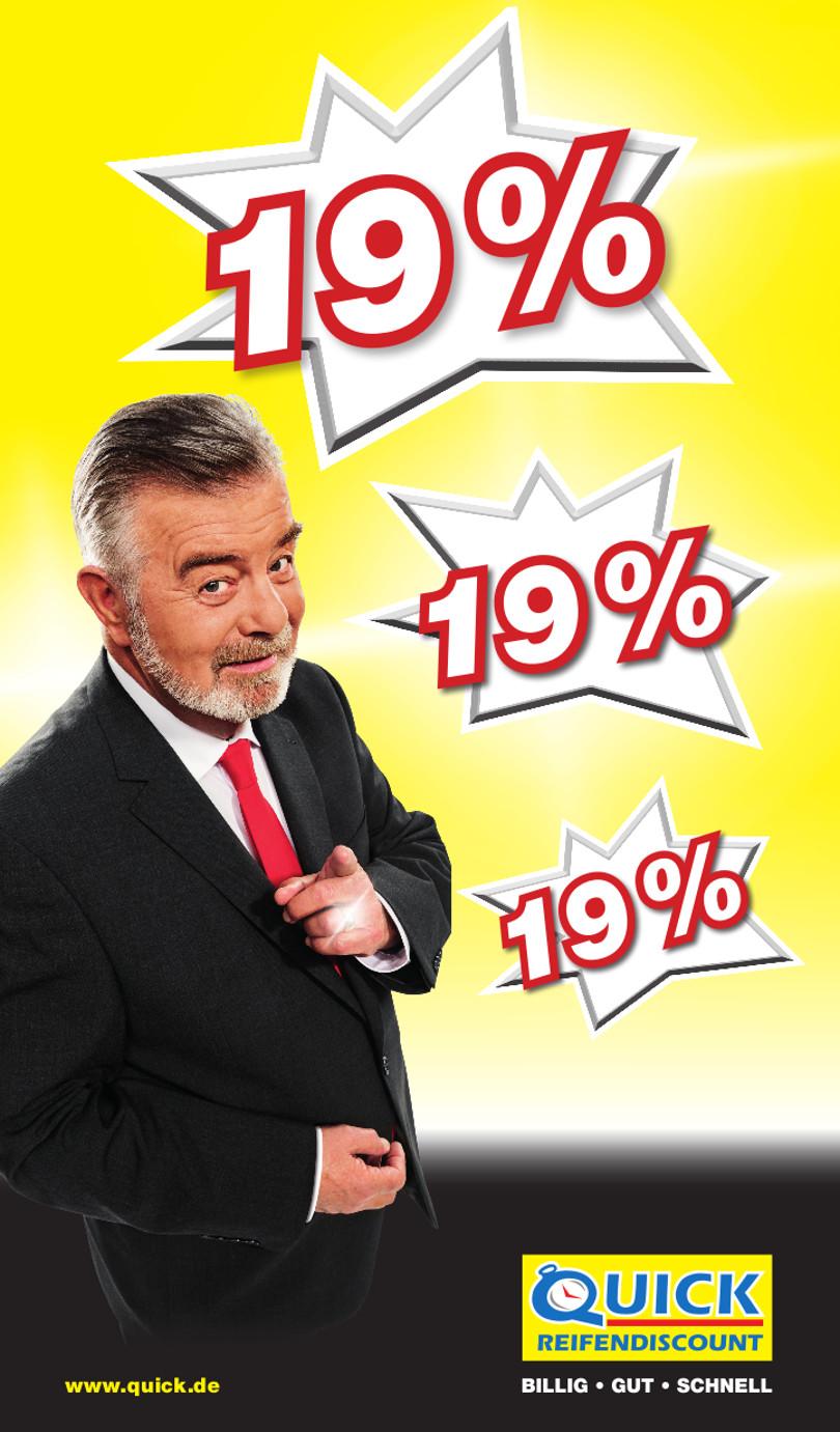 """Harry Wijnvoord – Quick Reifendiscount – """"19%"""""""