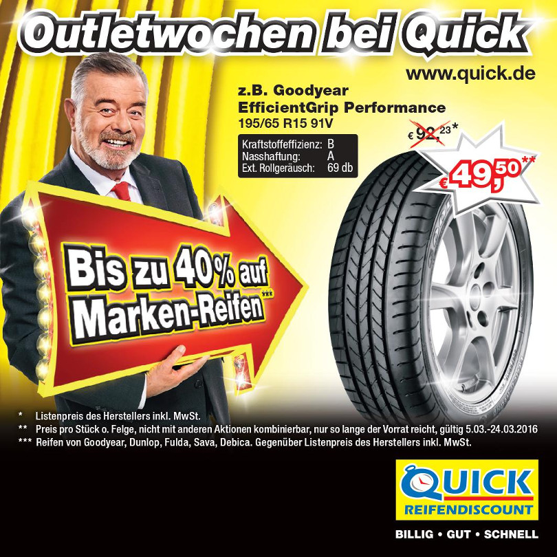 "Harry Wijnvoord – Quick Reifendiscount – Master ""Outletwochen"""