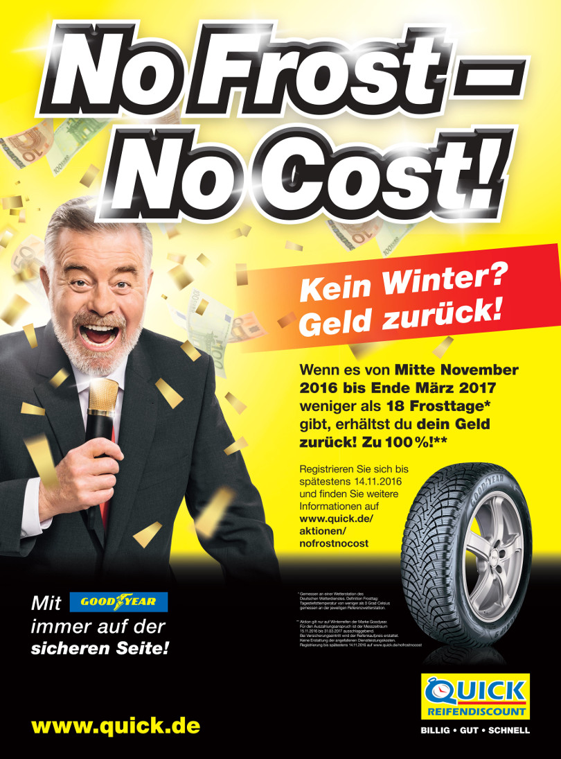"""Harry Wijnvoord – Quick Reifendiscount – """"No Frost – No Cost!"""" – Poster 1"""