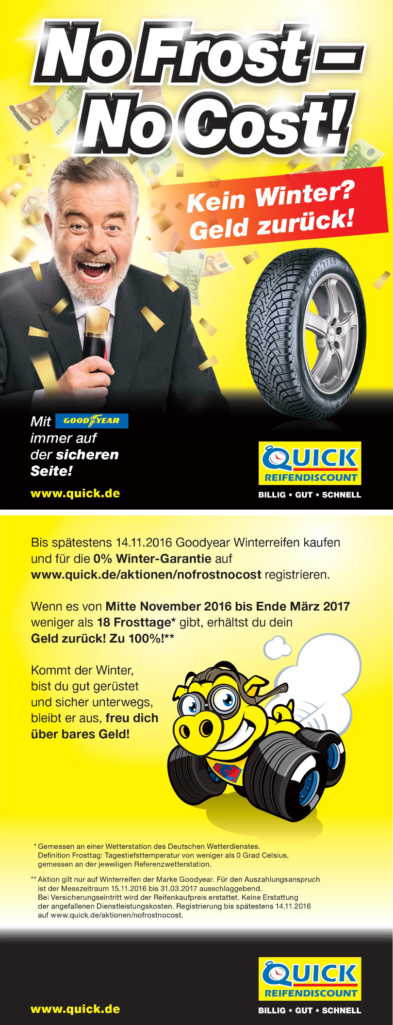 "Harry Wijnvoord – Quick Reifendiscount – ""No Frost – No Cost!"" – 2seitiger Flyer"