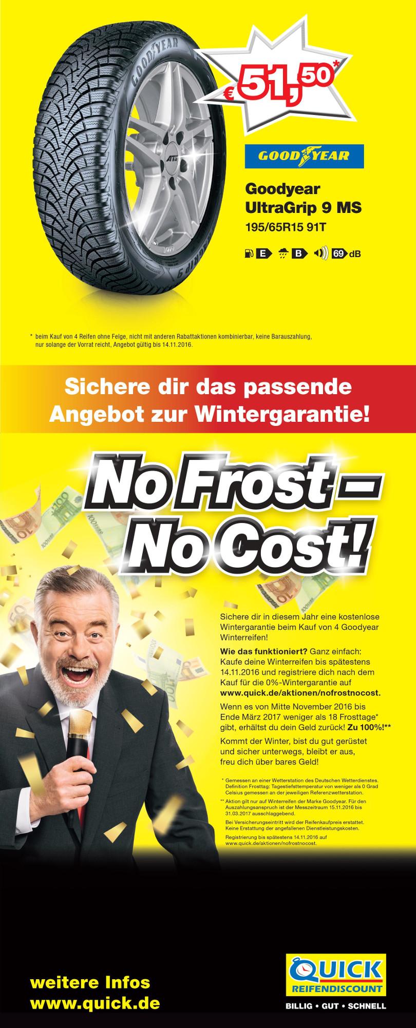 """Harry Wijnvoord – Quick Reifendiscount – """"No Frost – No Cost!"""" – Mailing Herbst 1"""