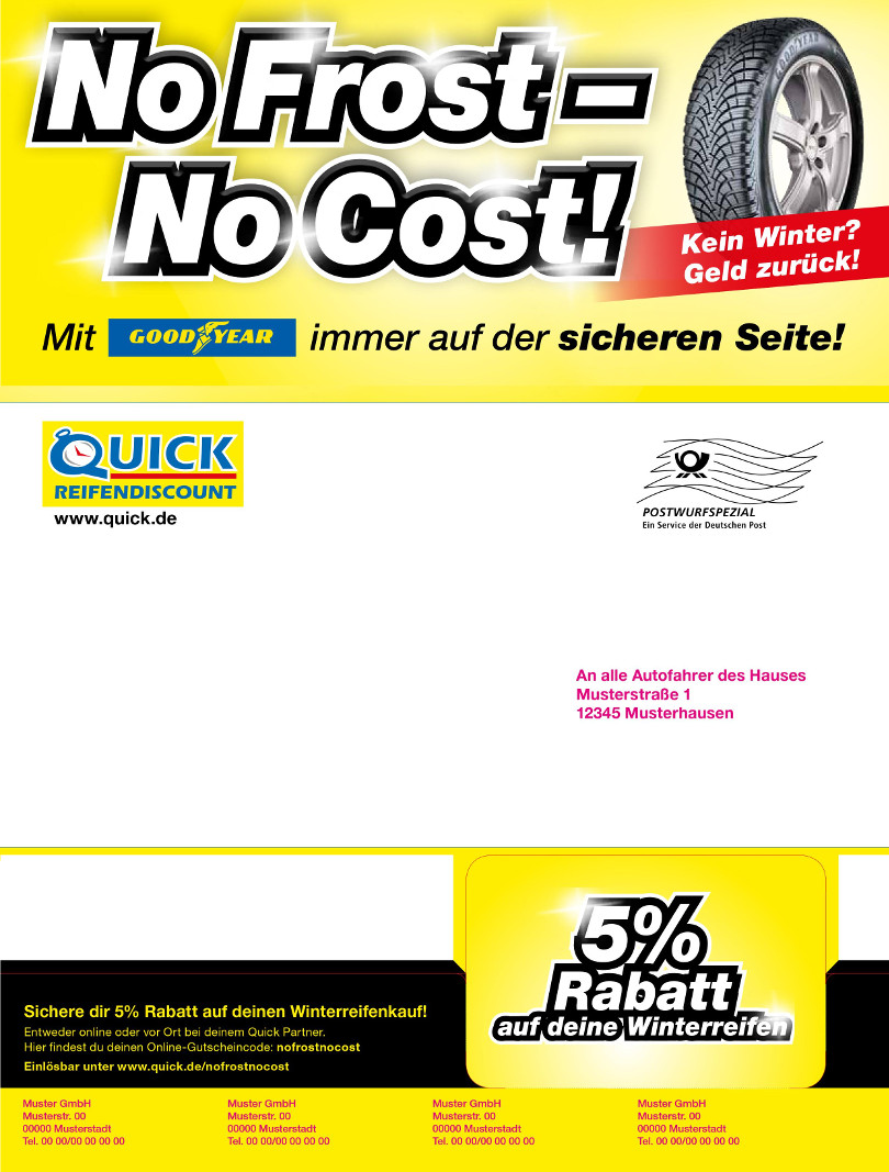 "Harry Wijnvoord – Quick Reifendiscount – ""No Frost – No Cost!"" – Mailing Multichannel 1"