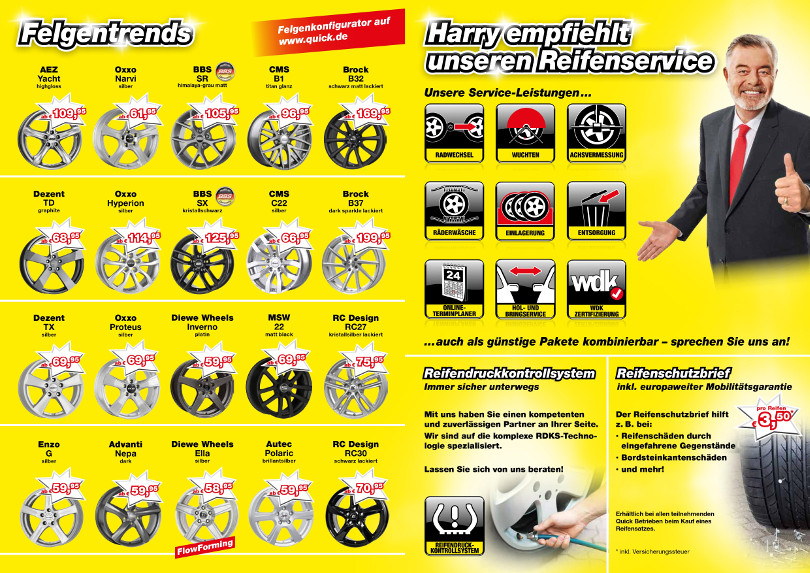 "Harry Wijnvoord – Quick Reifendiscount – ""Felgentrends & Reifenservice"""