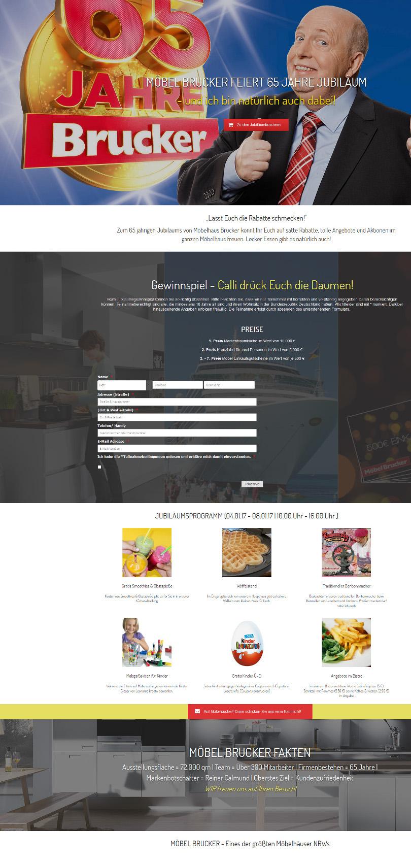 """Reiner Calmund – Möbel Brucker – """"Website Landingpage"""""""