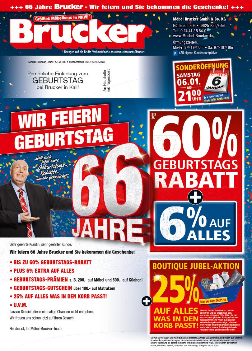 """Reiner Calmund – Möbel Brucker – 1. Mailing """"66 Jahre"""""""